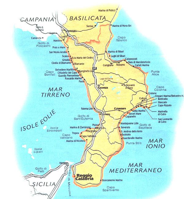 kalabrien karta
