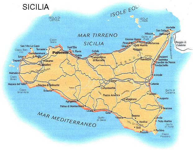kart over sicilia Continent Holiday & Travel kart over sicilia